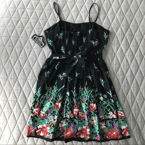 Angie Dresses - Black with Floral Print Sundress